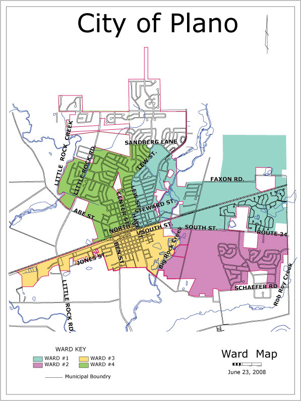 Map of the City of Plano's wards